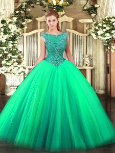 Colorful Turquoise Sleeveless Floor Length Beading Zipper 15 Quinceanera Dress