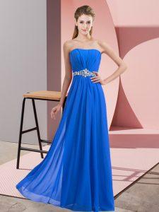 Blue Sleeveless Beading Floor Length Prom Dresses