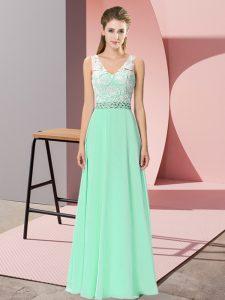 Comfortable Empire Prom Dress Apple Green V-neck Chiffon Sleeveless Floor Length Lace Up