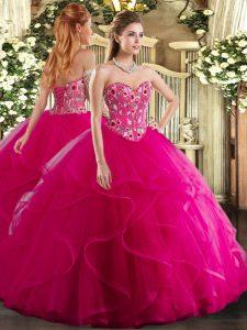Sexy Sweetheart Sleeveless Lace Up Vestidos de Quinceanera Fuchsia Organza