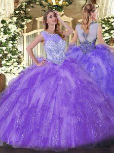 Low Price Sleeveless Beading and Ruffles Zipper Ball Gown Prom Dress