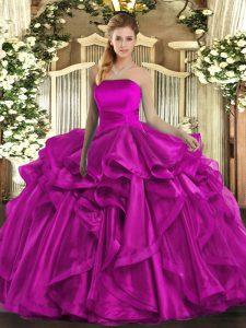 Fuchsia Ball Gowns Strapless Sleeveless Organza Floor Length Lace Up Ruffles Sweet 16 Quinceanera Dress
