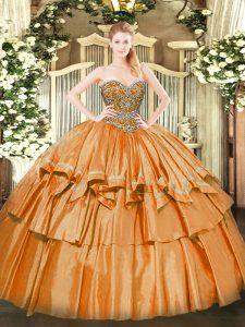 Nice Orange Organza Lace Up Vestidos de Quinceanera Sleeveless Floor Length Beading and Ruffled Layers
