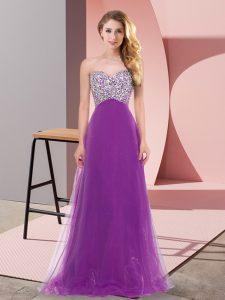 Sweetheart Sleeveless Prom Dresses Floor Length Beading Purple Tulle