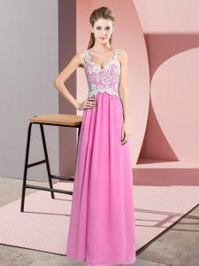 Affordable V-neck Sleeveless Floor Length Lace Rose Pink Chiffon