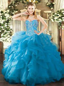Nice Aqua Blue Lace Up 15 Quinceanera Dress Beading and Ruffles Sleeveless Floor Length
