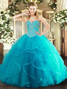 Dazzling Teal Sleeveless Beading and Ruffles Floor Length Sweet 16 Dresses