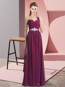 Luxurious Burgundy Sleeveless Floor Length Beading Backless Evening Dress