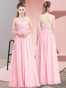 Beauteous Pink Chiffon Lace Up Prom Dress Sleeveless Floor Length Beading