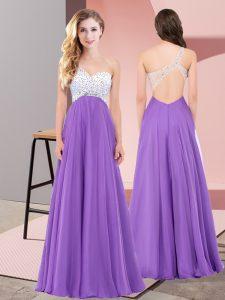 Eggplant Purple Sleeveless Beading Floor Length Prom Dress