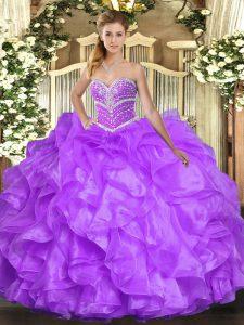 Flare Lavender Sleeveless Beading and Ruffles Floor Length Quinceanera Dresses