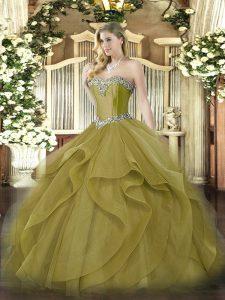 Fabulous Olive Green Sleeveless Beading and Ruffles Floor Length 15 Quinceanera Dress