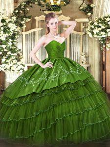 Sweetheart Sleeveless Zipper Quinceanera Dresses Green Organza and Taffeta