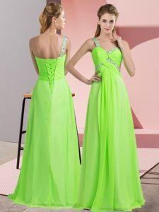 Floor Length Prom Evening Gown Chiffon Sleeveless Beading
