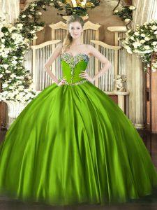 Dramatic Floor Length 15th Birthday Dress Satin Sleeveless Beading