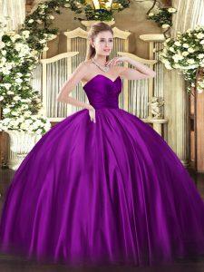 Super Purple Sleeveless Floor Length Ruching Zipper Quinceanera Dress