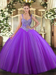 Purple Tulle Lace Up V-neck Sleeveless Floor Length Vestidos de Quinceanera Beading