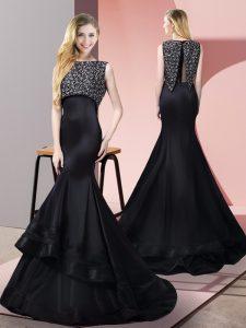 Customized Taffeta and Elastic Woven Satin Bateau Sleeveless Sweep Train Zipper Beading Homecoming Dress in Black