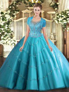 Elegant Sleeveless Clasp Handle Floor Length Beading and Appliques Quinceanera Dresses
