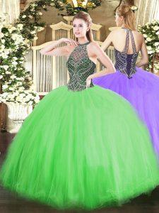 Glittering Tulle Lace Up Vestidos de Quinceanera Sleeveless Floor Length Beading