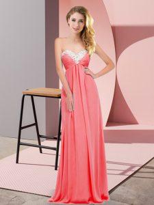 Fantastic Sweetheart Sleeveless Chiffon Prom Dress Ruching Lace Up