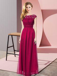 Sleeveless Zipper Floor Length Lace Homecoming Dress