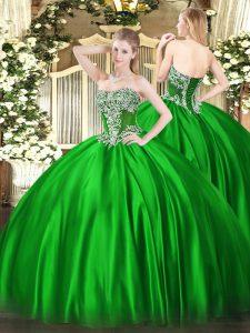 Amazing Sleeveless Lace Up Floor Length Beading Sweet 16 Dress