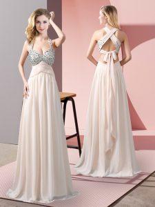 Fine Chiffon Halter Top Sleeveless Criss Cross Beading Prom Dresses in Champagne