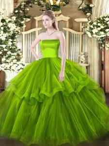Dazzling Olive Green Sweet 16 Dress Strapless Sleeveless Brush Train Zipper