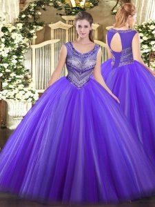 Elegant Eggplant Purple Lace Up Scoop Beading Quinceanera Dress Tulle Sleeveless