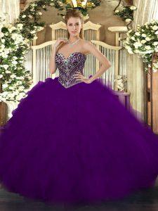 Dark Purple Sleeveless Beading and Ruffles Floor Length 15th Birthday Dress