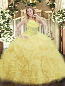 Sleeveless Zipper Floor Length Beading and Ruffles Sweet 16 Dresses
