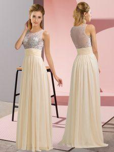 Designer Champagne Scoop Side Zipper Beading Dress for Prom Sleeveless