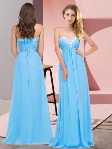 Custom Designed Empire Dress for Prom Aqua Blue Sweetheart Chiffon Sleeveless Floor Length Lace Up