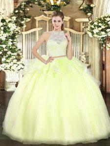 Sleeveless Zipper Floor Length Lace Sweet 16 Dresses