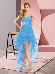 Amazing Baby Blue Lace Up Sweetheart Beading Prom Party Dress Tulle Sleeveless