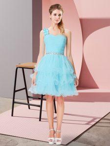 Mini Length Aqua Blue Dress for Prom One Shoulder Sleeveless Lace Up
