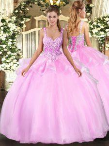 Fashionable Pink Sleeveless Floor Length Beading Lace Up Sweet 16 Dress
