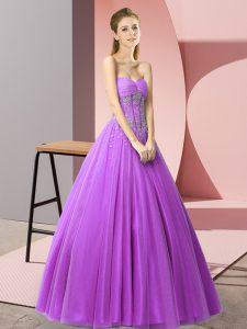 Purple Tulle Lace Up Sweetheart Sleeveless Floor Length Evening Dress Beading