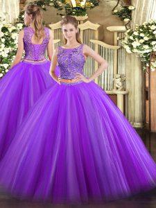 Customized Sleeveless Lace Up Floor Length Beading 15th Birthday Dress