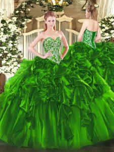Shining Sleeveless Lace Up Floor Length Beading and Ruffles Vestidos de Quinceanera