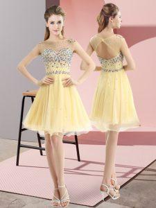 Mini Length Light Yellow Prom Gown Tulle Sleeveless Beading