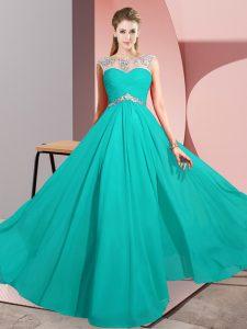 Turquoise Empire Chiffon Scoop Sleeveless Beading Floor Length Clasp Handle Prom Dresses