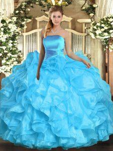 Popular Sleeveless Floor Length Ruffles Lace Up Vestidos de Quinceanera with Aqua Blue