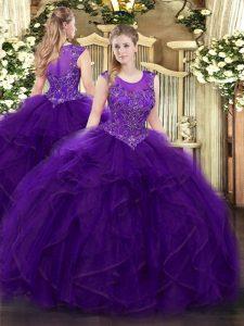 Beauteous Purple Scoop Zipper Beading and Ruffles Quinceanera Gowns Sleeveless