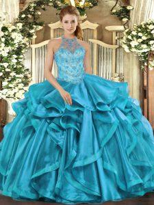 Discount Organza Sleeveless Floor Length Sweet 16 Dress and Beading