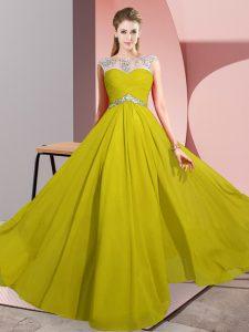 Colorful Yellow Chiffon Clasp Handle Sleeveless Floor Length Beading
