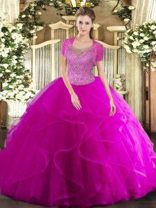 Floor Length Fuchsia 15th Birthday Dress Scoop Sleeveless Clasp Handle