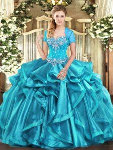 Artistic Sweetheart Sleeveless Sweet 16 Dresses Floor Length Beading and Ruffles Aqua Blue Organza