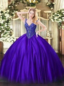 Satin Sleeveless Floor Length Sweet 16 Quinceanera Dress and Beading